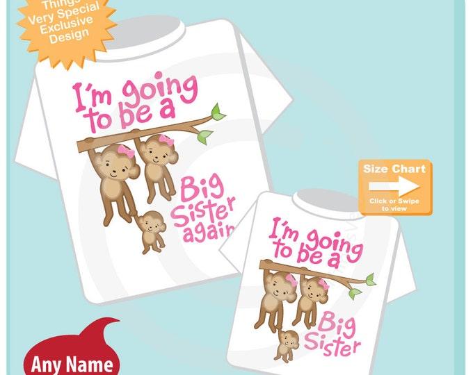 Big Sister Again and Big Sister Shirt set of 2, Sibling Shirt, Personalized Tshirt with Cute Monkeys 12082015d