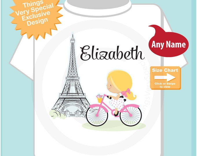 Paris Girl's Shirt, Pink Bicycle riding past Eiffel Tower, Personalized with Name (12122014a)