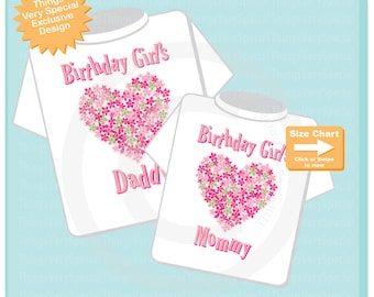 Matching Birthday Boy's Mommy and Daddy Shirts with heart of flowers 12072020a