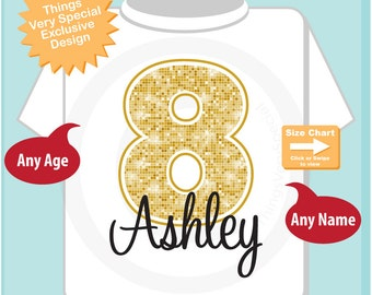Eighth Birthday Shirt, Golden 8 Birthday t-Shirt, Any Age Personalized Girls Birthday Shirt Gold Color Age and Name Tee (06242015a)