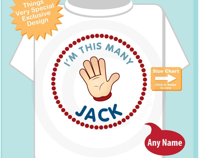 Boy's Personalized fifth Birthday Shirt, Birthday shirt showing age of 5, I'm This Many with Age for Boys (03242015c)
