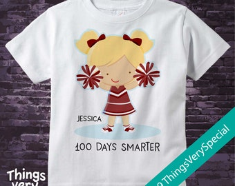 100 days of school cheerleader shirt, 100th day of school shirt, 100th day shirt, 100 days smarter personalized cotton t-shirt 01252019b