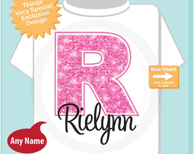 Monogram Shirt  Pink Initial Monogram Name Personalized Tee Shirt or Infant Onesie for Girls 12082015a