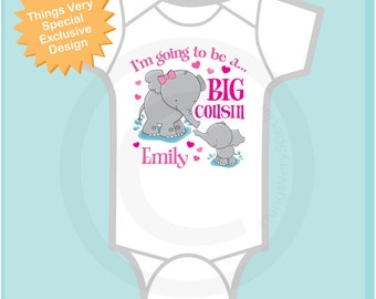 Elephant Big Cousin Onesie or Shirt, I'm going to Be a Big Cousin Elephant Tee Shirt or Big Cousin Pregnancy Announcement (03182012a1)