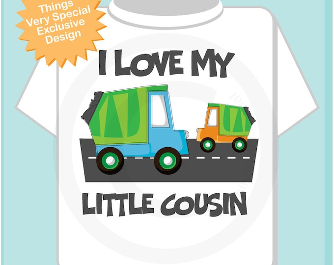 Personalized Big Cousin Garbage Truck Tee Shirt or Onesie, I Love My Little Cousin (09252012a)