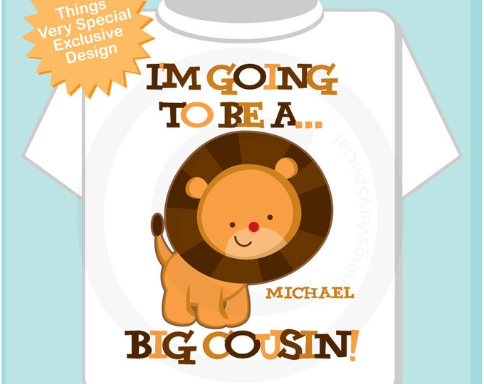 Boy's Big Cousin Lion tshirt or Onesie Bodysuit - Personalized I'm Going To Be A Big Cousin Lion Shirt or Onesie - Jungle theme Cousin Shirt