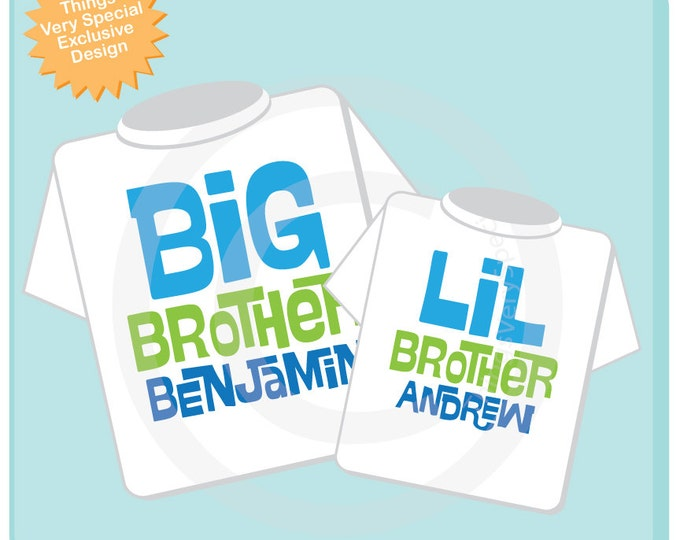 Set of 2, Big Brother and Little Brother Shirt Personalized Infant, Toddler or Youth Tee Shirt or Onesie Pregnancy Announcement (06142012a)