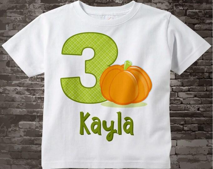 Personalized Third Birthday Fall Pumpkin Tee Shirt, 3rd Birthday Halloween Theme T-Shirt, Any Age 10082014o