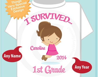 Personalized I Survived 1st Grade Shirt, First Grader Shirt Child's Back To School Shirt or 05212014e