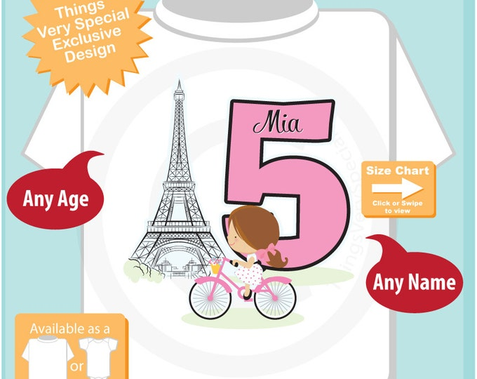 Fifth Paris Birthday Shirt, Pink 5 Birthday Shirt, Personalized Girls Birthday Shirt Pink Age and Name Tee for kids (10132015a)