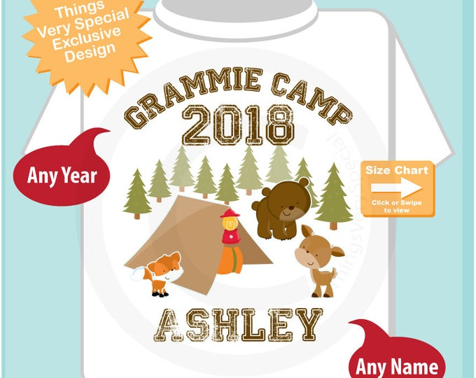 Personalized Grammie Camp Shirt or Onesie, perfect for Grandma's Cousin summer camp Boys or Girls |Summer Outdoors 07172018a