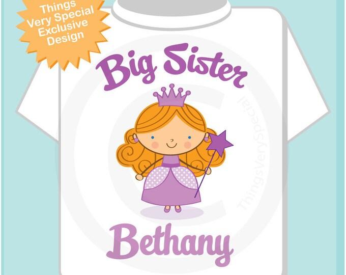 Princess Big Sister Shirt, Personalized Redhead Big Sister Shirt or Onesie, Big Sister Shirt for Toddlers and Kids