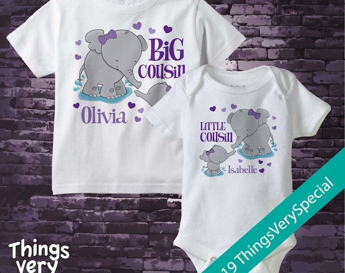 Set of Two Personalized Elephant Big Cousin and Little Cousin Shirt or Onesie Pregnancy Announcement 02192019b