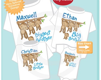 Sibling Monkey Shirt or Onesie Set of Four, Biggest Brother, Big Brother, Little Brother, and Littlest Brother, Personalized (08292016a)