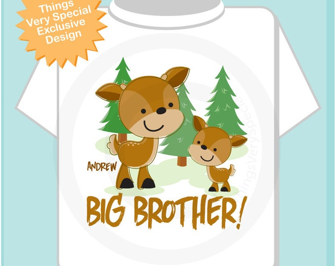 Personalized Big Brother Woodland Deer Buck Tee Shirt or Onesie 09172012d