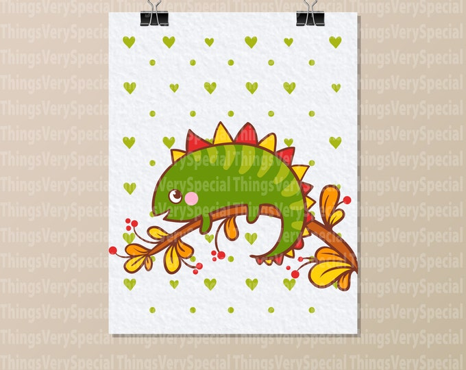 "Iguana Art Print, Children's Room Art Prints, Cute Iguana Art Print. 8.5"" x 11"" Art Print for Children's Room. 09242019p"