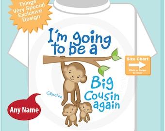 I'm Going to Be A Big Cousin Again Shirt, Big Cousin Again Onesie, Personalized Big Cousin Again Monkey Shirt (07232014a)