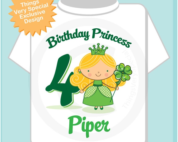4th Birthday Personalized Irish Princess Tee Shirt any age, name  or hair color 01272104ez