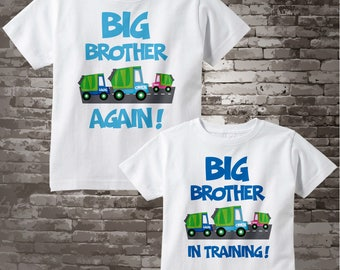 Personalized Set of 2 Big Brother Again Garbage Truck and Big Brother in Training Tee Shirts or Onesies, with baby girl truck 02052014b