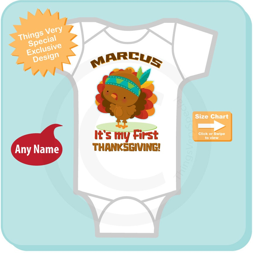 76a73917f67f4 1st Thanksgiving Onesie outfit, Personalized outfit, First Thanksgiving  Onesie or T-shirt design with cute Turkey (11132015b). gallery photo  gallery photo
