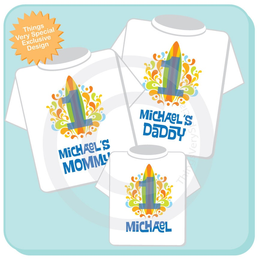 Matching Mom Dad And Birthday Boy Shirts For First With Surfing Theme 03272018c Gallery Photo