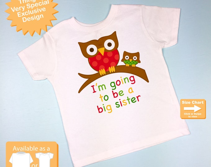 Girl's I'm Going To Be a Big Sister Owl Shirt or Onesie Christmas Pregnancy Announcement (11262012j)