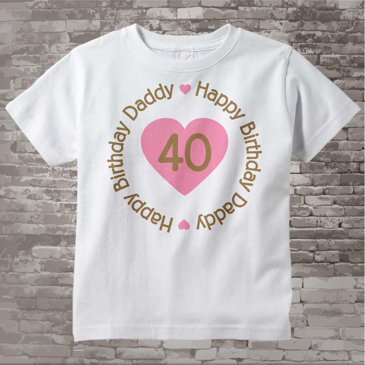 Happy Birthday Daddy Shirt Or Onesie With Pink Heart Personalized Dads Age 02182014d Gallery Photo