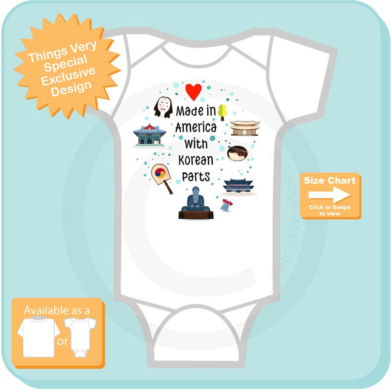 Made in America with Korean Parts Onesie Bodysuit or T-shirt with Korean  landmarks and art South Korean Coming Home Outfit top 10052017a