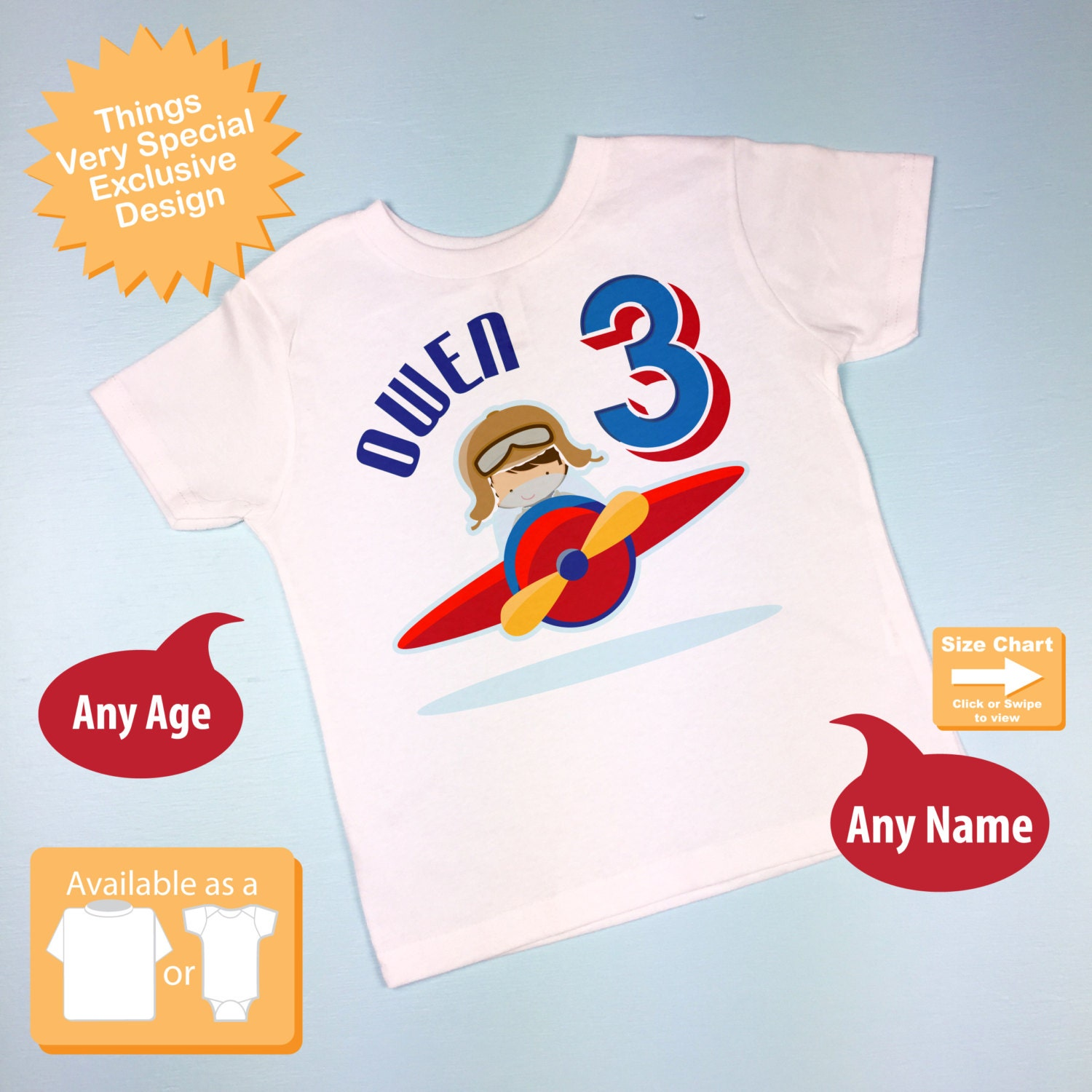 3 Year Old Boys Personalized Airplane Pilot Birthday Shirt Or Onesie With Childs Name And Age 07062015fz Gallery Photo