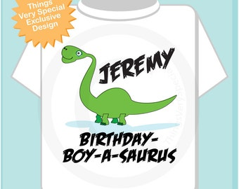 Dinosaur Birthday Shirt, Personalized Dino Birthday Shirt or Onesie with Child's Name (12092011b)