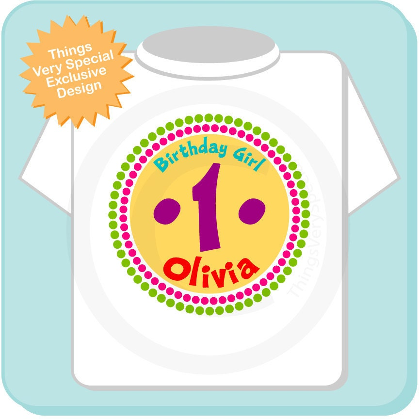 1 Year Old Birthday Rainbow Shirt Personalized Girl Circle Design Tee Or Onesie 06192012cz Gallery Photo
