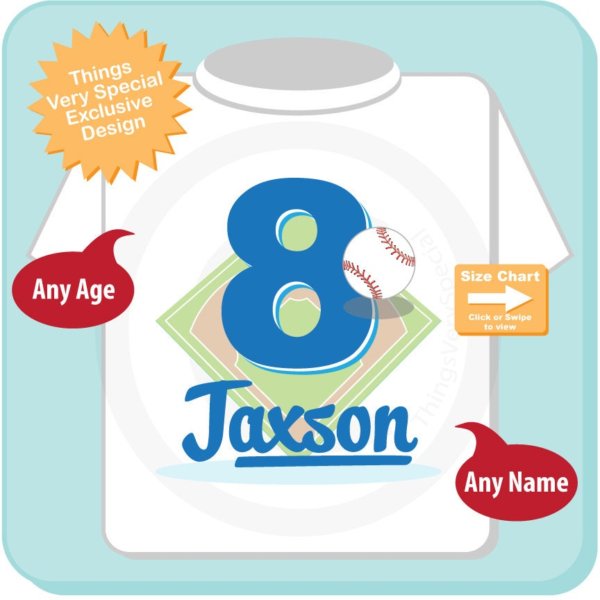 b1af0e02 ... Personalized Boy's Eighth Birthday Baseball Theme Tee Shirt 06052018c.  gallery photo gallery photo