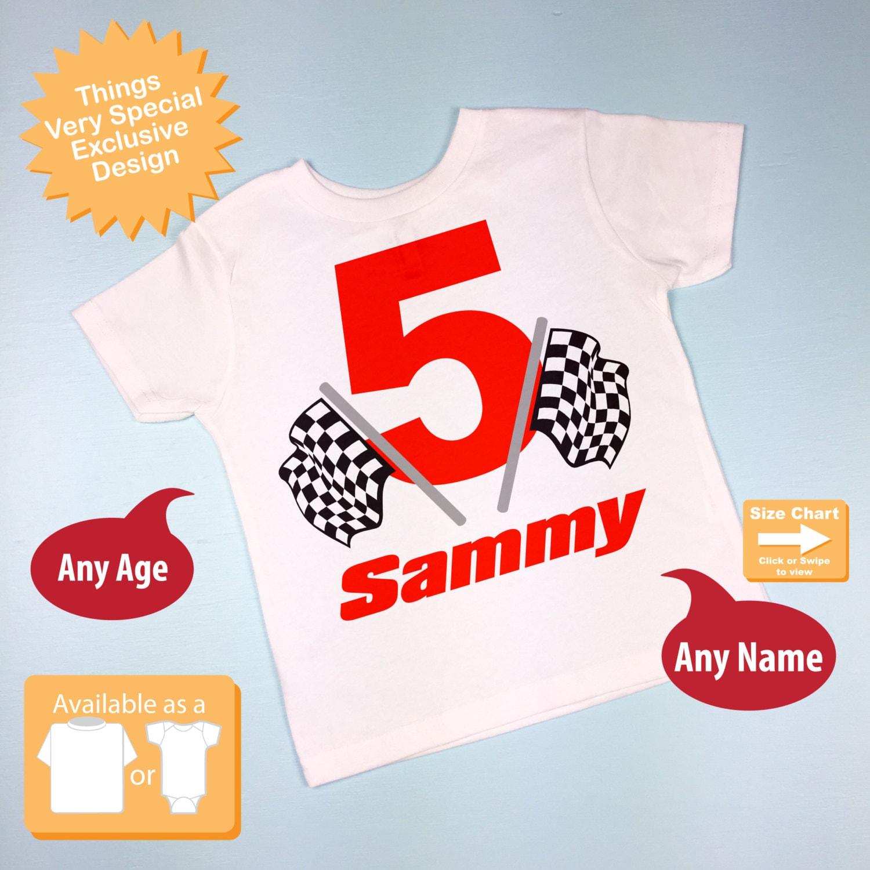Racing Theme Birthday Shirt For 5 Year Old Boy