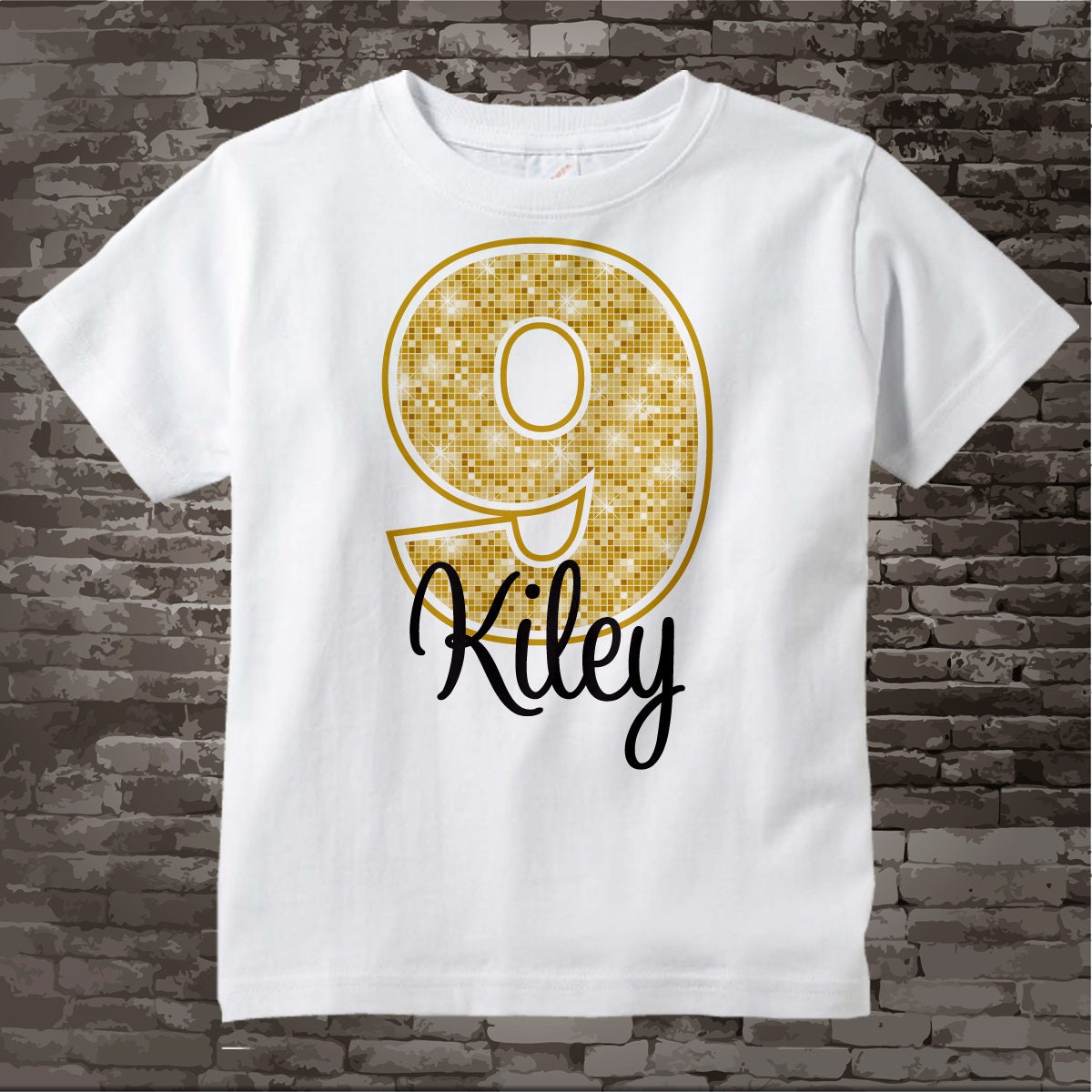 Personalized Girls Birthday Shirt Gold Color Age And Name Tee 08262014b Gallery Photo
