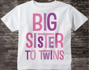 Big Sister To Twins Shirt,  Infant, Toddler or Youth Tee Shirt Pink and Purple Text t-shirt or Onesie 08042017d