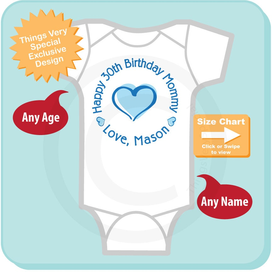 Happy Birthday Mommy Shirt Or Onesie With Blue Heart Personalized Moms Age 11102015e Gallery Photo