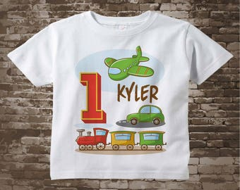 Transportation 1st Birthday party - Transportation Birthday shirt or Onesie - Plane Train Automobile Transportation party theme 12292017a