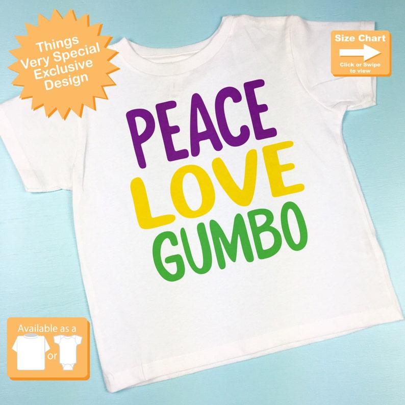 26c620683 Peace Love Gumbo Mardi Gras Shirt or Onesie Bodysuit Mardi   Etsy