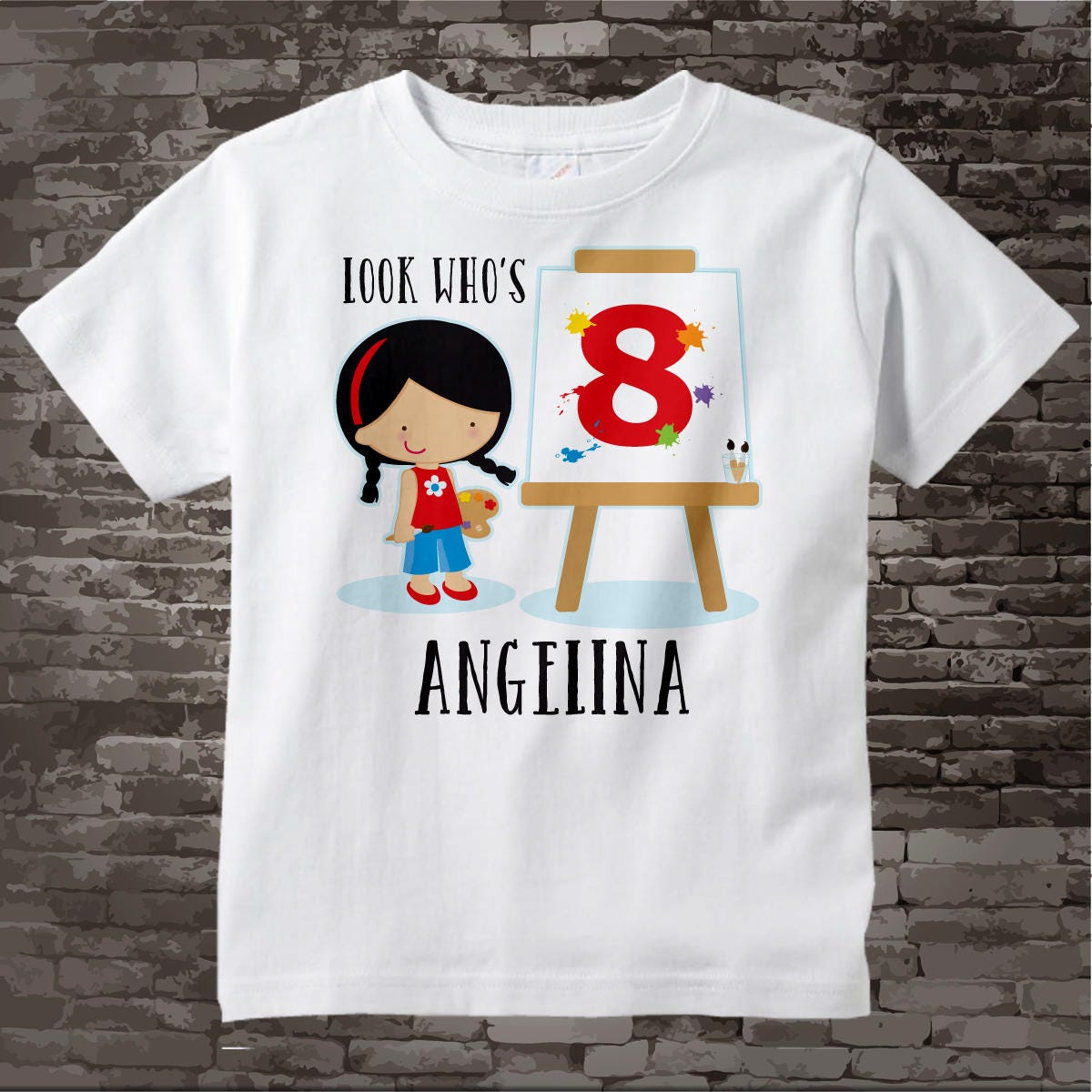 e866f5f9 ... Personalized Girls Birthday tee shirt, Look Who's 8 07212015f. gallery  photo ...