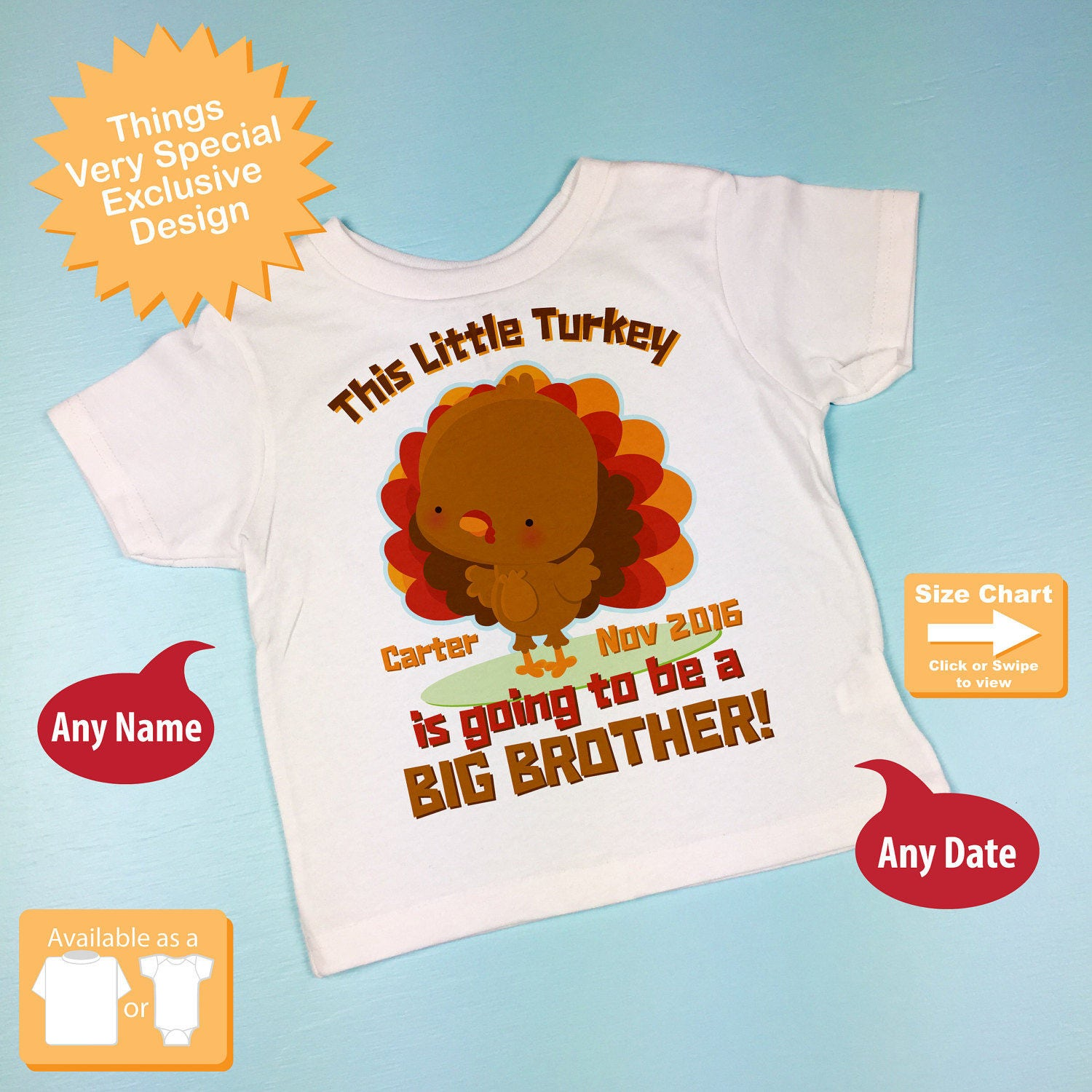 ea0fb9907 Turkey Big Brother Shirt, Thanksgiving Personalized This little turkey is  going to be a Big Brother Shirt Pregnancy Announcement 10242015e