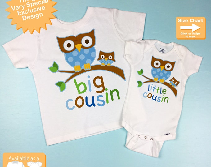 Big Cousin Little Cousin Set of Two, Owl Shirt and Onesie outfit set  (10042013b)