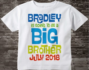 Boys Personalized Blue and Green Big Brother Shirt or Onesie, Infant, Toddler or Youth with Due Date 01112013a