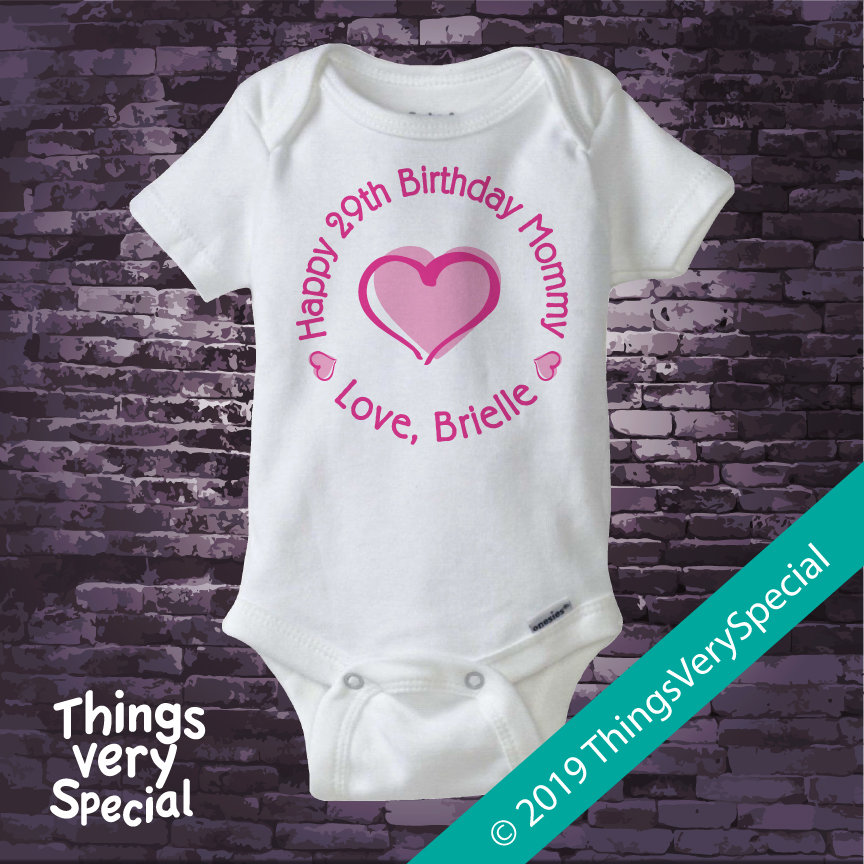 Happy Birthday Mommy Shirt Or Onesie With Pink Heart Personalized Moms Age 02052019c Gallery Photo