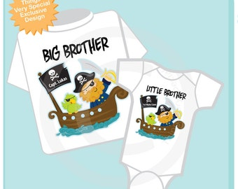 Big Brother Little Brother Shirt set of 2 Personalized Tshirt with Pirate Captain Big Brother and Pirate 1st Mate Little Brother (02122014g)