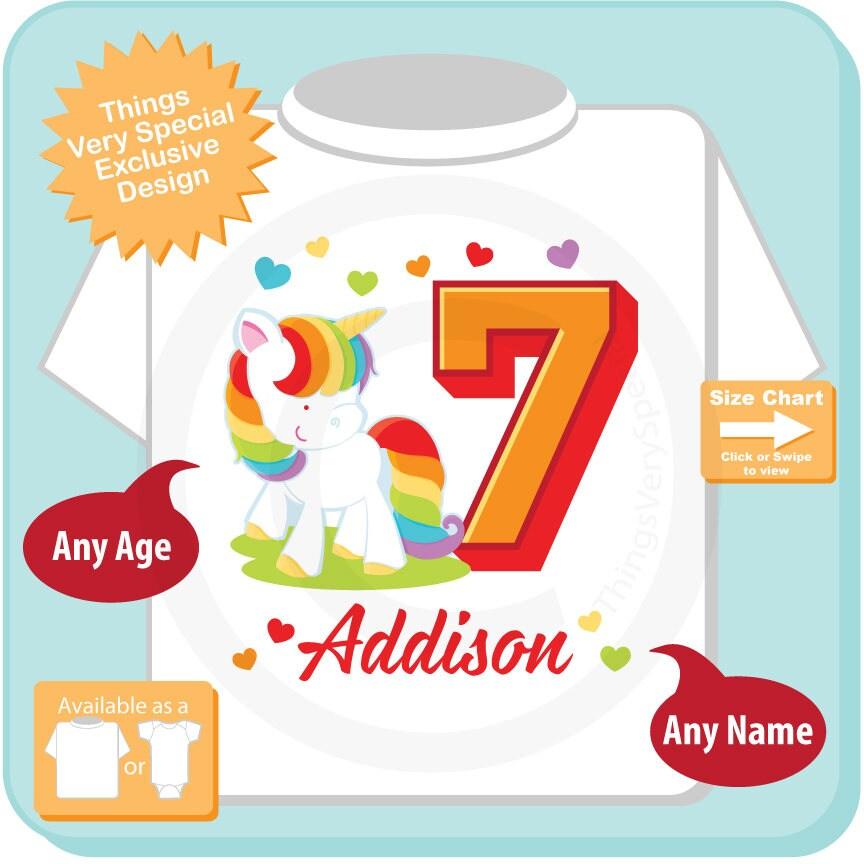 7th Birthday Girl Unicorn Shirt Personalized Girls