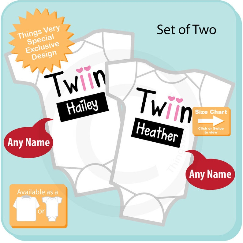 Twin/'s Matching Sister Oneise Bodysuits or Tee Shirts 08032015d for twin girls.