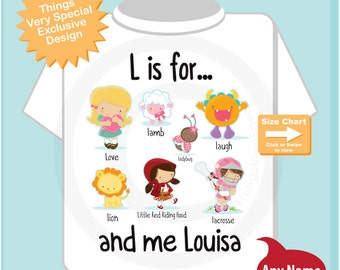 Girl's Personalized L is for Shirt or Onesie Personalized with childs name with everything that starts with L, alphabet learning (08152014c)