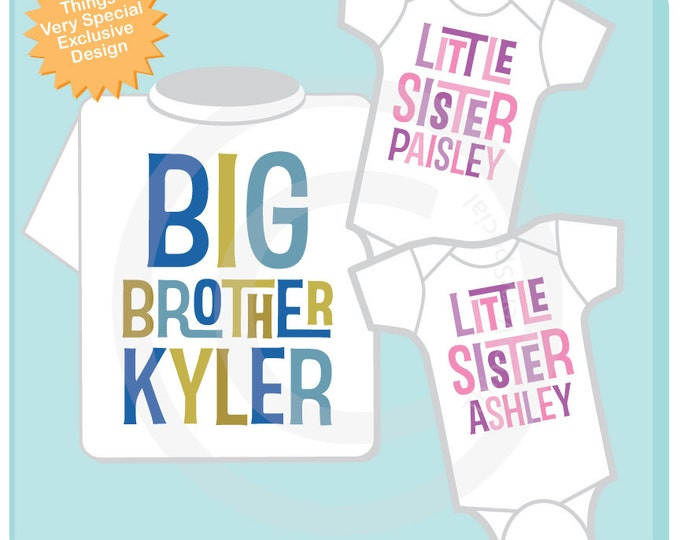 Set of Three Personalized Big Brother with Twin Baby Sisters Tshirt and Two Onesies with Text 01252013d