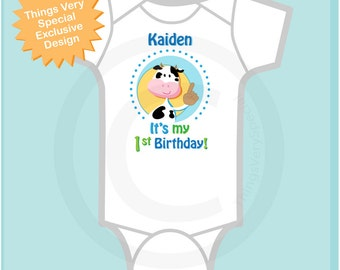 Boys It's My First Birthday Onesie Farm Theme Birthday with Cow Personalized 1st Birthday Farm Theme (07032012a1)