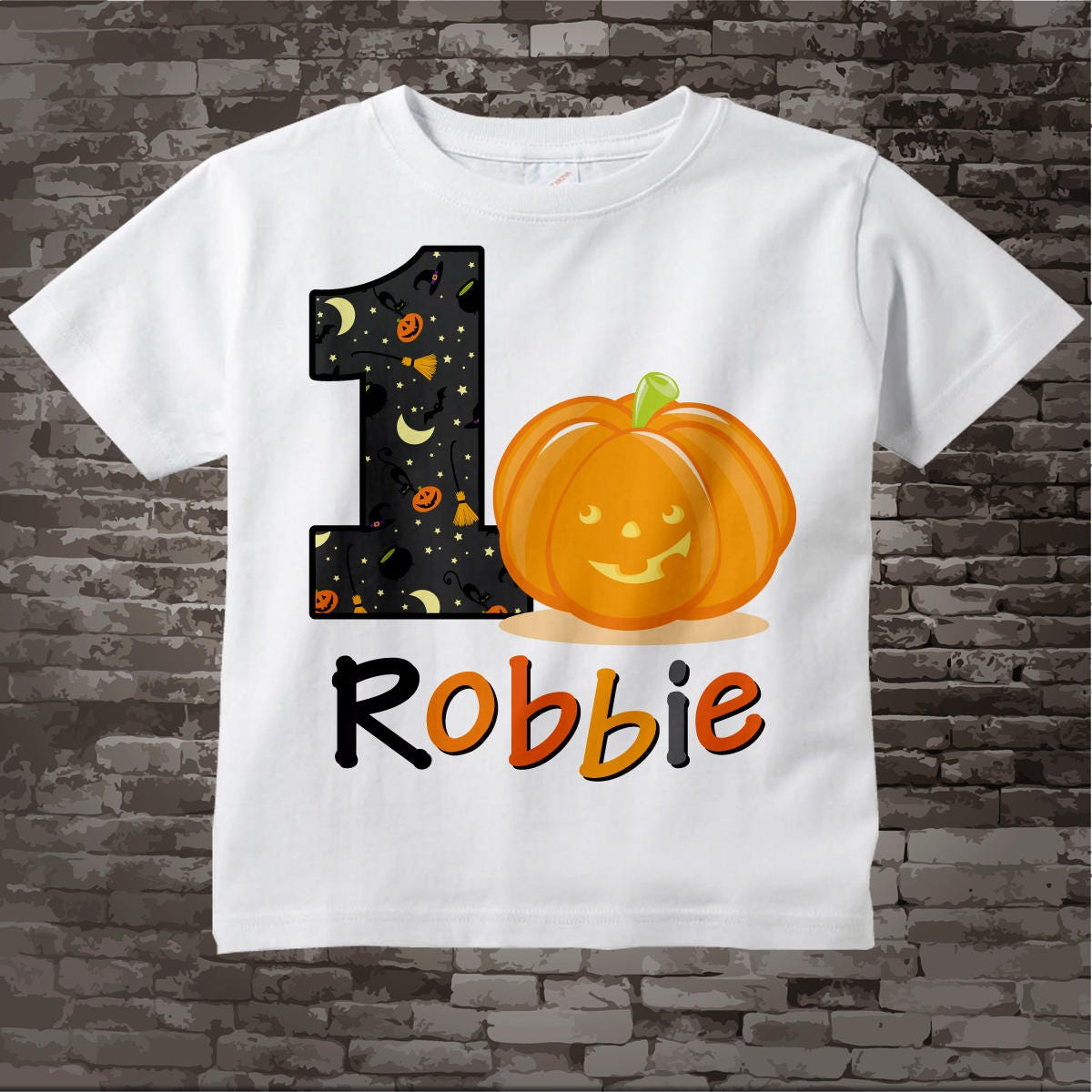 Pumpkin First Birthday Shirt One Year Old Halloween Outfit Fall Party 10022012b